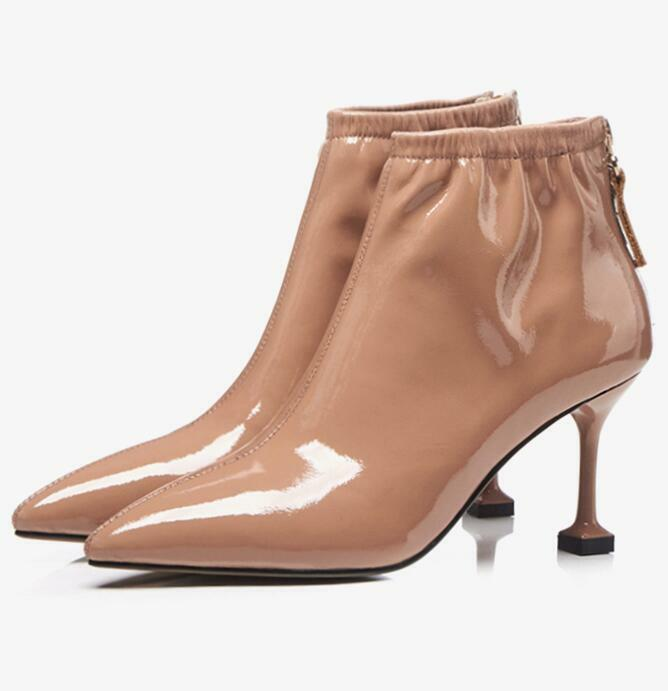 Women Pointy Toe Zip Leather Stilettos Heels Fashion Ankle Boots Sexy OL shoes