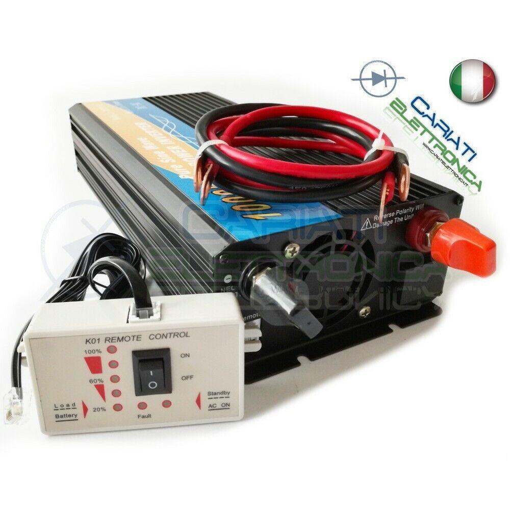 Power inverter 1000w Max 2000w Watt Pure Sine Wave 12v DC 230v