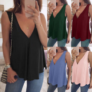 Summer-Women-Plus-Size-V-Neck-Tank-Top-Cami-Sleeveless-T-Shirt-Vest-Blouse-S-5XL