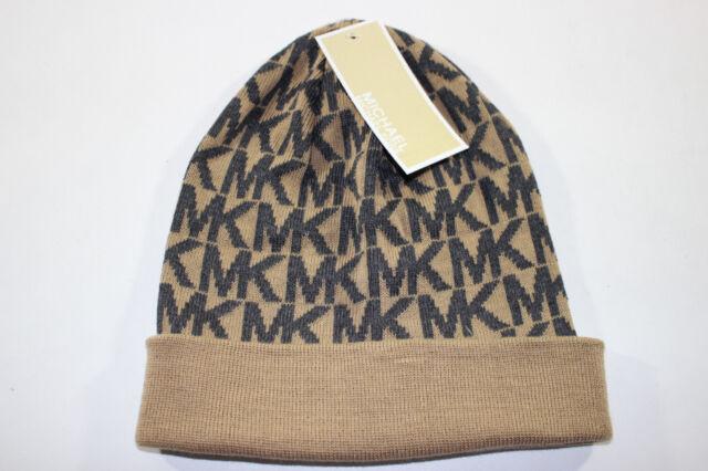 3fe8ad36e02 NWT MICHAEL KORS Women s Camel   Gray MK MONOGRAM Logo Stretch Winter Hat OS