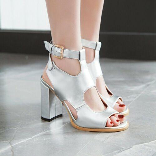 New Summer Femme Romaine Boucle Bride Arrière Sandales Bout Ouvert Talon Haut Bloc Chaussures