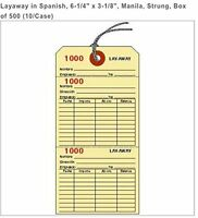Layaway Tags In Spanish, 6-1/4 X 3-1/8, Manilla, Strung, Box Of 500 Ly2001mn-s