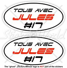 "JULES BIANCHI #17 TOUS AVEC Formel 1 F1 75mm (3"") Vinyl Sticker, Aufkleber x2"