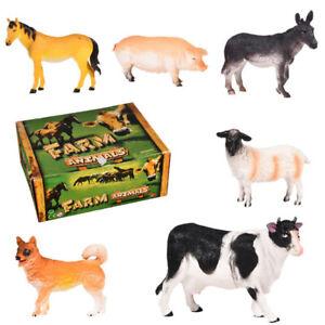 Toyvian 6Pcs Large Farm Animals Toy Set Similation Animals Figures Model Toys