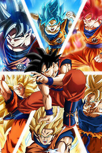Dragon Ball Z Super Poster Goku From Normal To Ultra 12in X 18in