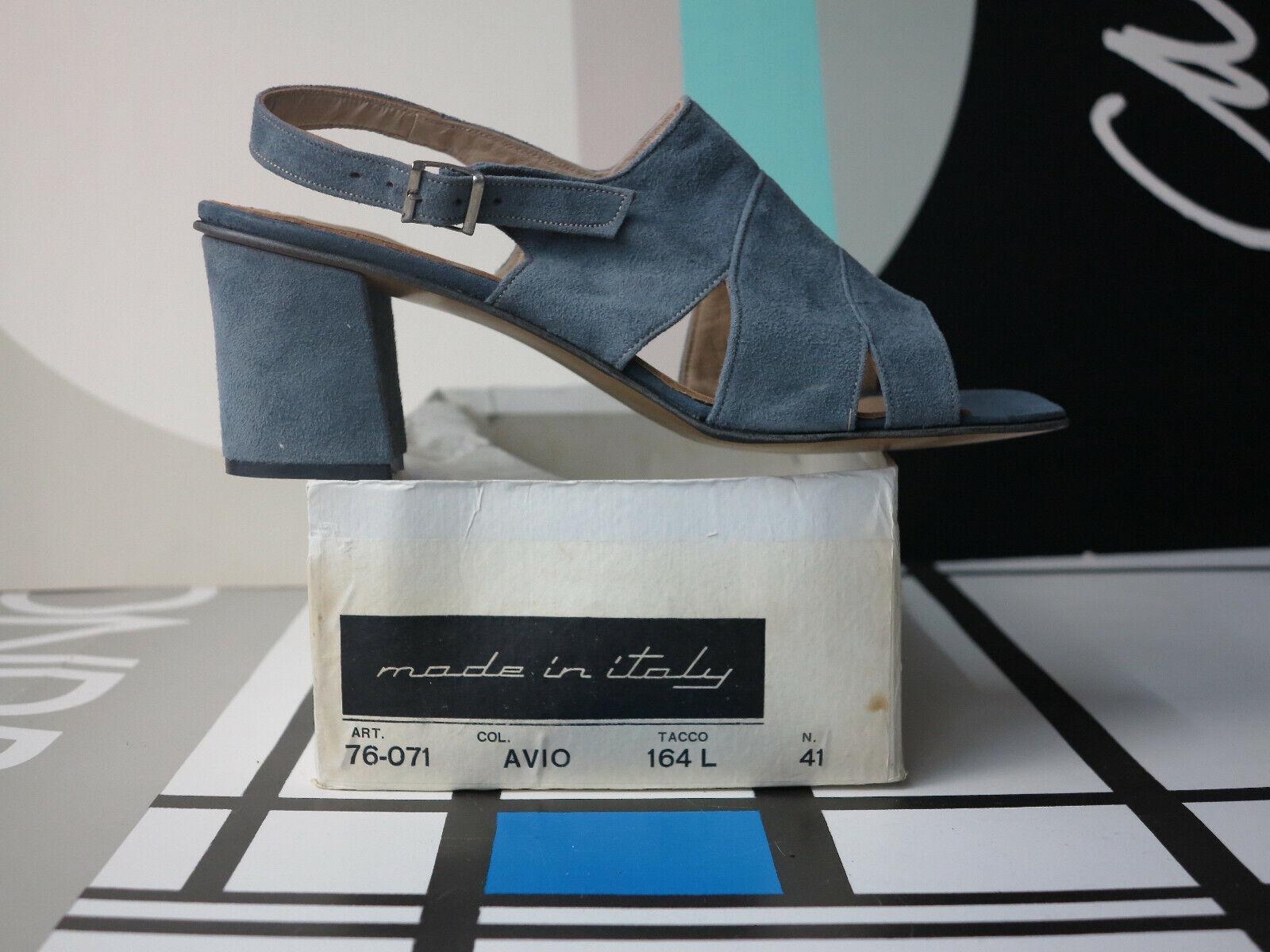 Señora sandalias zapatos de de de gamuza azul tacón alto Suede 70er True vintage 70s nos  descuento de ventas en línea