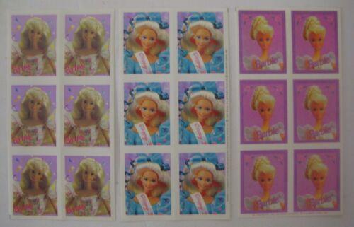 Vtg 90's Lot of 3 BARBIE STICKER SHEETS Hallmark Mattel Doll Heads (18 stickers)
