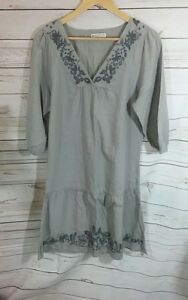 Indigo-Marks-and-Spencer-Womens-Dress-UK-8-Grey-Taupe-Cotton-Embroidered-Floral