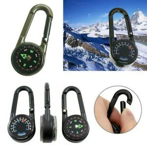 3 in 1 Multifunction Camping Carabiner Keychain Compass Thermometer Key new