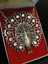 Styles by Smart Vintage Large Peacock Pendant 14k H.G.E. Pink Red rhinestones