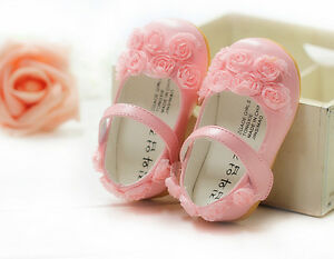 Nuevo Bebé Niñas Rosa Bautizo Fiesta Zapatos 6-9 meses