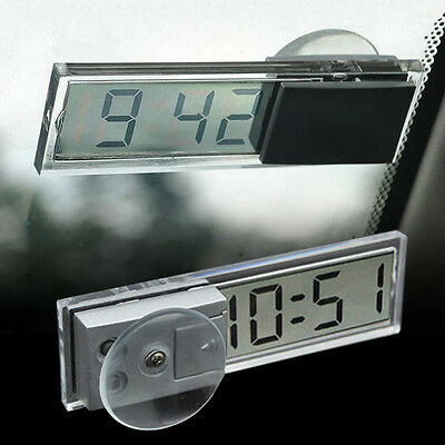 Clear Digital LCD Display w Suction Cup Mini Dashboard Windshield Auto Car Clock