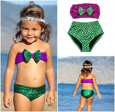 Girls Kids Mermaid Bowknot Bikini Sets Swimwear Bathing Suit Swimsuit Costumes
