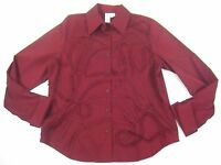 Coldwater Creek Shirt Top Large Wine Cross Dyed Soutache Embroidery