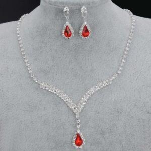 Hochzeit Schmuckset - Ohrringe, Collier. Silber, Weißer Strass, Roter Kristall. Rohstoffe Sind Ohne EinschräNkung VerfüGbar