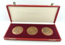 3 Medaillen im Etui: Engels, Karl Marx, Lenin bronzefarben e1449