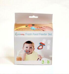 Lullababy Fresh Food Feeder Set For 3 to 6 Months Baby Orange Blue Silicone