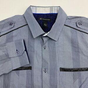 INC-International-Concepts-Button-Up-Shirt-Men-039-s-XL-Long-Sleeve-Gray-Striped