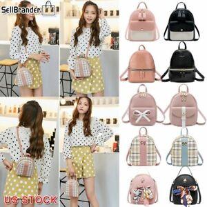 Women-Girls-School-Bag-PU-Leather-Backpack-Mini-Rucksack-Purse-Travel-Handbag-US