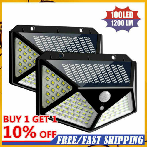 100 LED Solarleuchte Solarlampe Bewegungsmelder Außen Fluter Sensor Strahler Neu