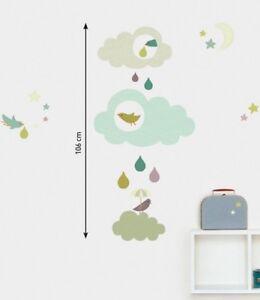 Details zu Kinder Wandtattoo Wolken mit Regentropfen Wandsticker Sticker  Kinderzimmer
