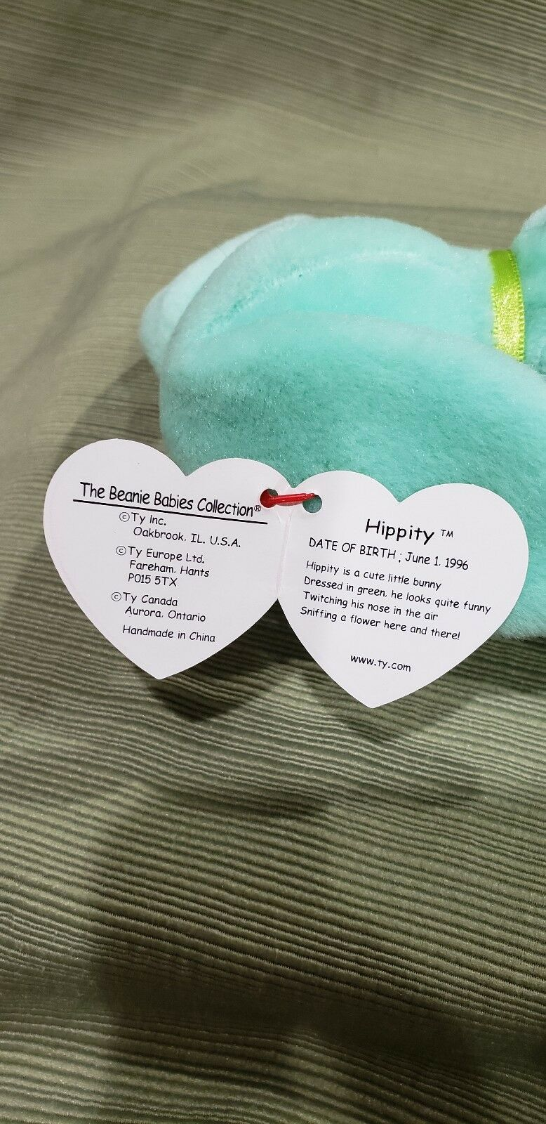 Ty Beanie Baby Hippity the Green Bunny w Errors 1996 1996 1996  New & Retired 33a6d9