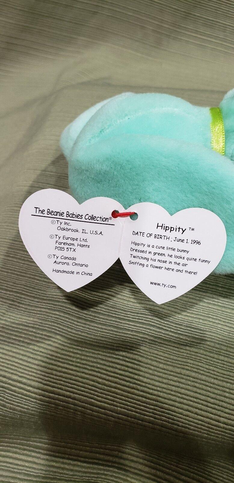 Ty Beanie Baby Baby Baby Hippity the Green Bunny w Errors 1996  New & Retired db6e89