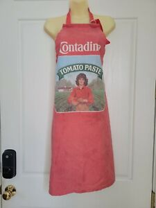 "Vintage! Red Cotton Blend Full Apron ""CONTADINA YOMATO PASTE"" Made In USA"