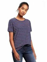 - Old Navy Women's Slub-knit Boyfriend T-shirt - Navy Stripe ---> Tall Sizes