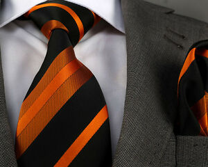 NEW-ITALIAN-DESIGNER-ORANGE-amp-BLACK-STRIPE-SILK-TIE-amp-HANKY