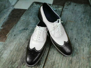 Men Red White Oxford Full Brogue Cap Toe Genuine Leather Spectator Laceup Shoes