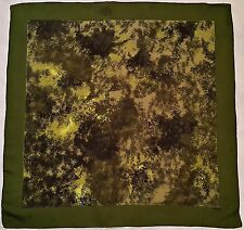 "SWITZERLAND-VINTAGE KREIER WATERCOLOR ART GREEN BLACK SILK 26"" SQUARE SCARF"
