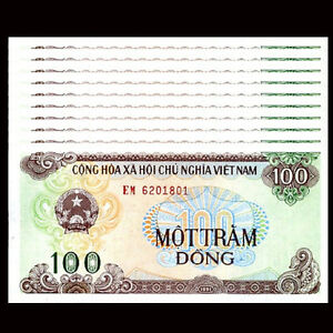 VIETNAM 100  DONG  1991    P 105b large serial  Uncirculated Banknotes