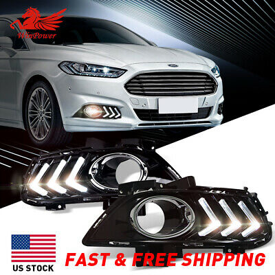 BUMPER DRL LED BAR FOG LIGHT LAMP BEZEL COVER BLACK FOR 13-16 FORD FUSION MONDEO