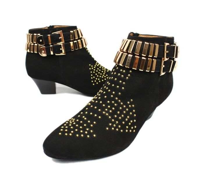 JEFFREY CAMPBELL WOMEN'S BLACK BENATAR STUDDED ANKLE BOOTS LEATHER SHOES HEELS