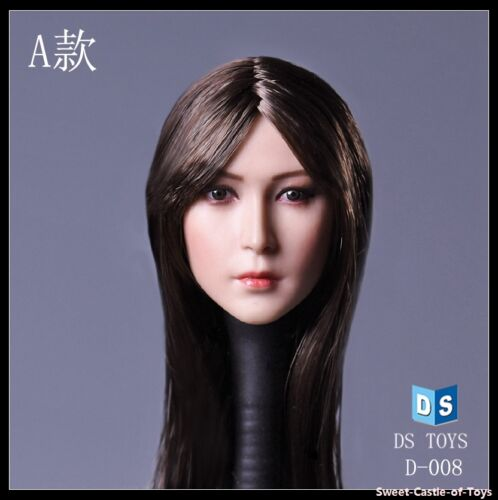 Action Figure Female Europe D008A Long Black Hair Head 1//6 DSToys Accessory