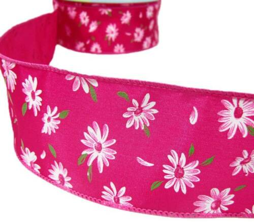 """5 Yards White Daisy Flowers Daisies Pink Satin Wired Ribbon 2 1//2/""""W"""