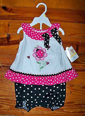 New! Girls SMALL WONDERS 2pc Pink Black White Cotton Flower Outfit 0-3 Months