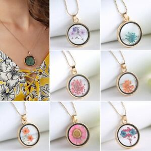 Women-Circle-Dried-Flowers-Sliver-Plated-Bead-Chain-Pendant-Necklace-Jewelry-Hot