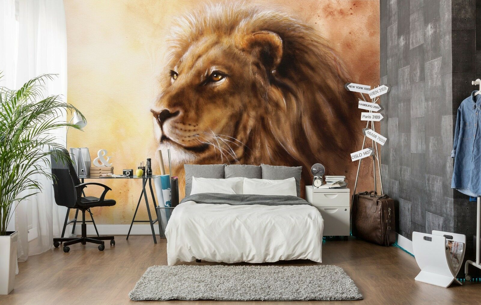 3D gold Lion Oil Painting 43 Wall Paper Wall Print Decal Deco Indoor Wall Mural