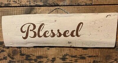 Rustic Wood Signs Hand Painted Blessed
