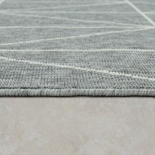 Outdoor Indoor Grau Teppich 3D Optik Skandi Look Skandinavisches Design Kurzflor