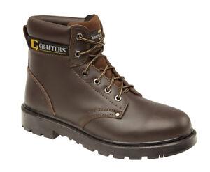 seguridad punta Tamaños densidad de con acero Botas de 14 de livianos de para 6 doble suela cuero hombres Marrón de q0vwFt
