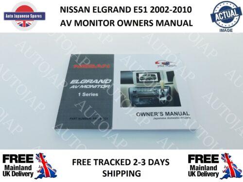 Adatto a NISSAN ELGRAND E51 2.5i 3.5i 2002-2010 MONITOR AV Proprietari Manuale