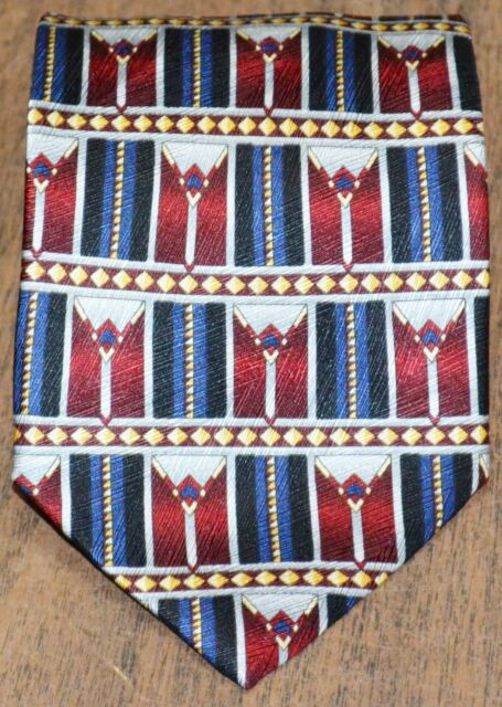 Today S Man Black Blue Burgundy Gray Gold Patterned 100 Silk Tie Made In Italy