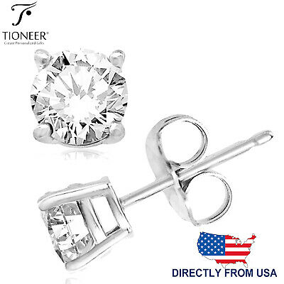 Solid 925 Sterling Silver Round Clear Cubic Zirconia CZ 4 Prong Stud Earrings