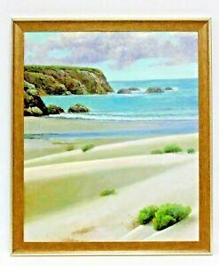 Sea-Tide-Sandy-Shore-Beach20-x-24-Art-Oil-Painting-on-Canvas-w-Dark-Wood-Frame