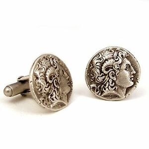 men/'s cuff link antique style wedding gift Sterling silver cufflinks Alexander the Great men jewelry men accessories gift for men
