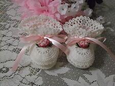 Handmade Hand Crocheted Baby  Booties - White w/Pink Ribbons & Flowers