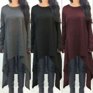 UK-Ladies-Casual-Asymmetric-Tunic-Top-Blouse-Women-Long-Sleeve-Shirt-Dress-Sizes